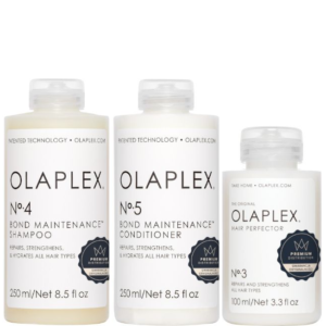 Zestaw Olaplex No.4 250ml + No.5 250ml + No.3 - Kuracja do włosów zniszczonych