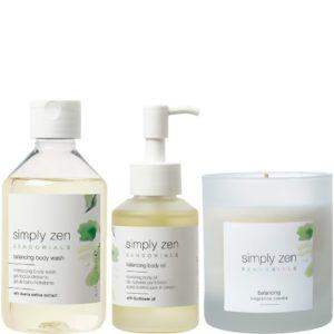 Zestaw SIMPLY ZEN Sensorials Balancing - Wyciszający olejek, żel pod prysznic i świeca zapachowa