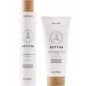 Kemon Actyva Nutrizione Ricca - Zestaw Szampon 250ml + Maska 200ml